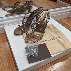 Louis Vuitton Magnolia Metallic Strap Sandal